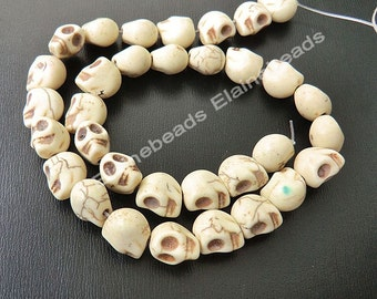 White Skeleton Turquoise Skull stone beads Loose Strand 15 inch 10mmX12mm Howlite turquoise Bead Gemstone Beads Loose Bead Magnesite Beads