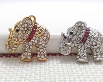 3   Rhinestone Elephant Charms  Elephant Pendant