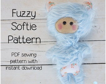 Fuzzy Softie PDF Sewing Pattern & Tutorial Style Instructions (with Instant Download)