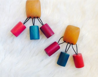 Colored Cylinder Earrings