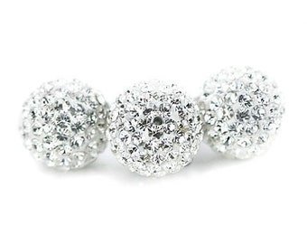 High Quality 10PCS Crystal stones 10mm Loose Spacer Bead Pave Disco Ball Rhinestone Beads Fit DIY Bracelets Necklaces Rings