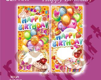 Happy Birthday Digital Clipart Elements Set / 2 PNG/JPG/ For Personal and Commercial use/ Clip Art/ Instant Download