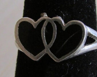 Sterling Silver Ring with 2 Black Inlay Hearts Size 4 1/2