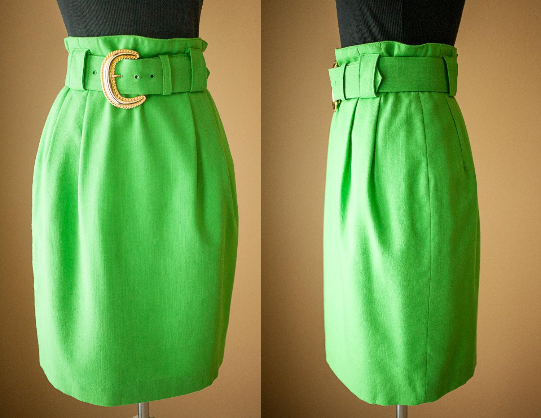 vintage green skirt pistachio green midi skirt high waisted