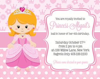 Princess Birthday Invitation, Princess Party Invitation, Princess Party Invite, Princess Birthday Invite, PRINTABLE