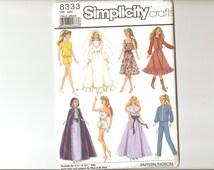 Pattern Simplicity 8333 Wardrobe for Dolls Uncut free shipping