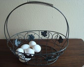 Medium Egg Basket, Metal Scroll Work, Metal Leaf Pattrens,  Handled,  Gardening Basket, Farmers Basket,  Spring Grip