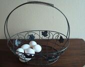 Medium Egg Basket, Metal Scroll Work, Metal Leaf Pattrens,  Handled,  Gardening Basket, Farmers Basket,  Spring Grip
