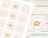 pink gold cupcake toppers baby girl shower elephants printable DIY cupcake toppers pink quatrefoil stickers circles  - INSTANT DOWNLOAD