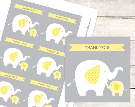 elephant baby shower favor tags printable DIY baby ...