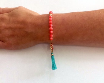 Coral, Mint Green, and Gold Beaded Tassel Boho Friendship Bracelet