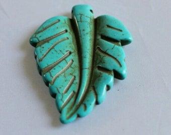 Turquoise Leaf  Pendant