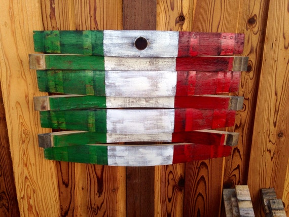 Wood Barrel Wall Decor : Wine barrel italian flag wall decor art reclaimed by martellas