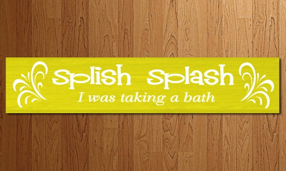 bathroom decor splish splash bath wood sign wall decor for. Black Bedroom Furniture Sets. Home Design Ideas