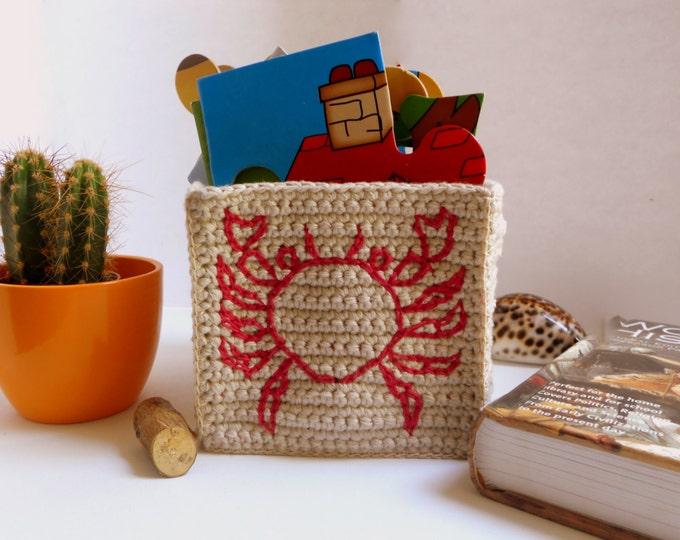Nautical Storage - Crab Embroidery on Sandy Cotton Basket - Nautical Nursery - Nautical Decor - Ocean Decor - Nautical Kitchen - Cachepot