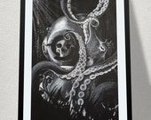At a Benthic Measure - Octopus & Diver helmet. Canvas - White charcoal on Blackboard paint.