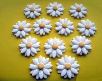 Edible Sugar Icing Double Daisy Flower Cupcake Cake Decorations