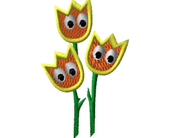 Animated Tulip Machine Embroidery Design