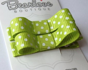 Green Polka Dot Tuxedo Bow Hair Clips | Baby Girl Hair Clips | Hair Bows | Baby Hair Accessories | Infant Hair Clips | Toddler Hair Clips