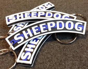 Sheepdog Quot Thin Blue Line Quot Pvc Keychain