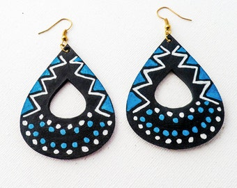 Beautiful Handpainted Blue White & Black Tribal Pattern Teardrop Earrings