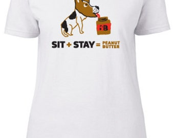 Women's Sit+Stay=Peanut Butter Dog Tee, available in white