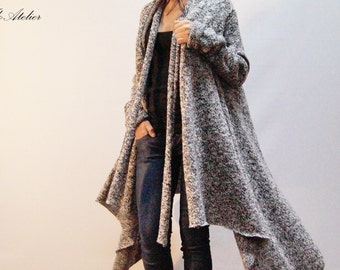 Gray Asymmetrical Cardigan/Oversized Sweater/All Season Coat/Extravagant Top With Belt/Loose Knitt Coat/High Quallity Vest/F1284
