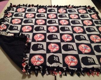 Tied fleece New York Yankees blanket