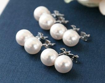10%OFF, Bridesmaid gifts, Set of 7,8,9,10, White Pearl Earrings, Swarovski pearl earrings, Wedding bridal earrings, 925 silver stud earrings
