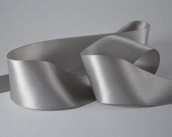 """Silver Ribbon, Double Faced Satin Ribbon, Widths Available: 1.5"""" (38mm)"""
