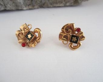 19k Gold Earrings, 1930's Era, Onyx Earrings, Retro Style Earrings, Rhinestone Frenchback Earrings