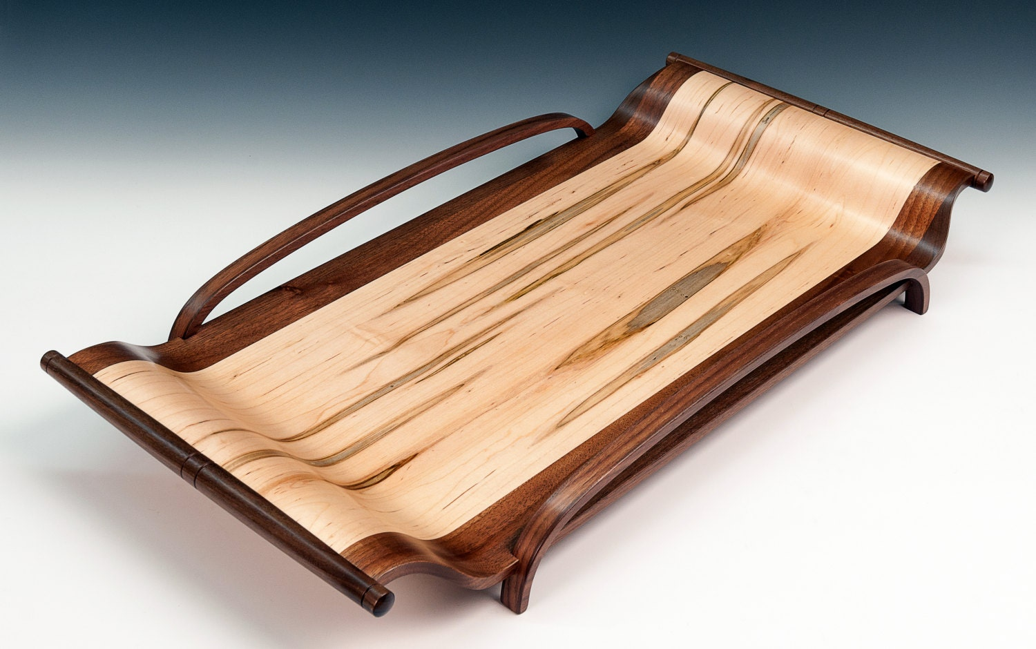 Wood Serving Tray Tray With Handles Coffee Table By Finewinecaddy