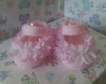 hand knitted mary-jane shoes, made using knitting in lace