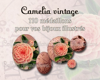 Digital Printable Collage Sheet - Camelia vintage