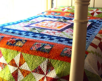 Handmade Tropical Quilt-Art Quilt-Tropical Pinwheels in Bright Colors- Orange, Green, and Blue Queen Quilt- Wedding Gift