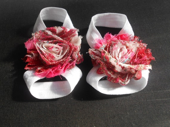 Pink flower Baby Barefoot Sandals ,Shabby Flowers with White Elastic , Toddler Sandals ,Newborn Sandals ,Baby Flower Sandals