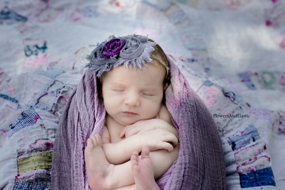 Grey Shabby  flower Baby Headband, Newborn Headband,  Infant Headband,Baby Headband, Headband Baby, White Baby Headband