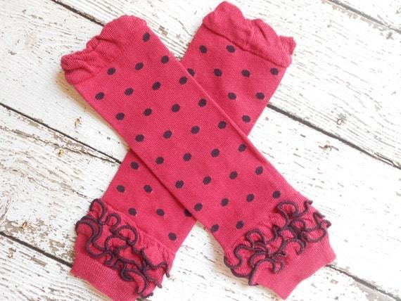 Hot Pink/Black Dots Leg Warmers with Ruffles, Leg Warmer, Girl Leggins, Wholesale Leg Warmers, One Size Leg Warmers