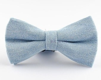 Light Blue Bow Tie.Denim Bow Tie,Solid Bowtie for Men.Bowtie for Party,Prom,Wedding.