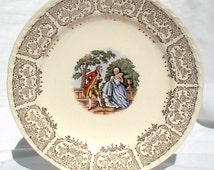 """Crooksville China Ohio Salad Dessert SIX 7"""" Plates Gold Colonial People in Garden 1940 CR010 Thematie"""