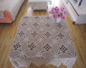 """Gorgeous crochet paatern 53"""" square tablecloth, 100% handmade crochet table topper suqare, Vintage style crochet tablecloth for home decor"""
