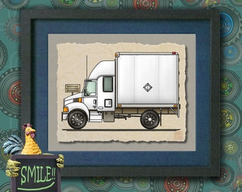 Kid Truck Art Cute expeditor truck Fun delivery truck print adds to kids room things that go art as 8x10 or 13x19 work truck wall decor