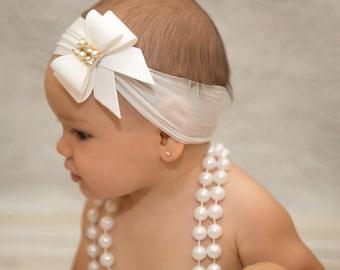 White Bow Headband, Baby Bow Headband, Nylon Headband, Baptism Headband, White Baby Headband, Newborn Headband, Christening Headband, 798