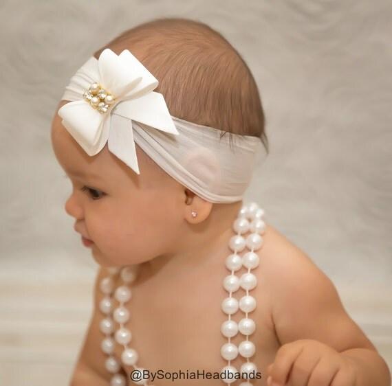 Serre t te noeud blanc b b noeud serre t te bandeau en - Diademas para bebes bautizo ...