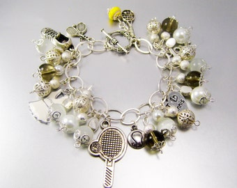 White Smoke Tennis Charm Bracelet