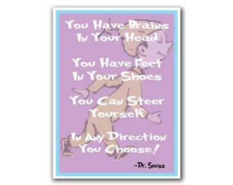 Dr. Seuss Art Nursery Decor Poster Any Direction Quote Print (S10)