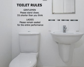 Bathroom Wall Decal Toilet Rules Sticker Novelty Funny Gift Bar Night Club & bathroom rules wall stickers | My Web Value