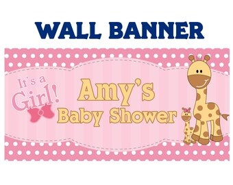 Baby Shower It's a Girl  ~  Baby Giraffe Welcome Home Baby Girl Banners Indoor or Outdoor