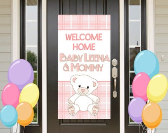 Welcome Home Baby Door Banner  ~ Personalized Baby Bear Girl Party Banner, It's a Girl Welcome Banner, Welcome Home Baby Banner