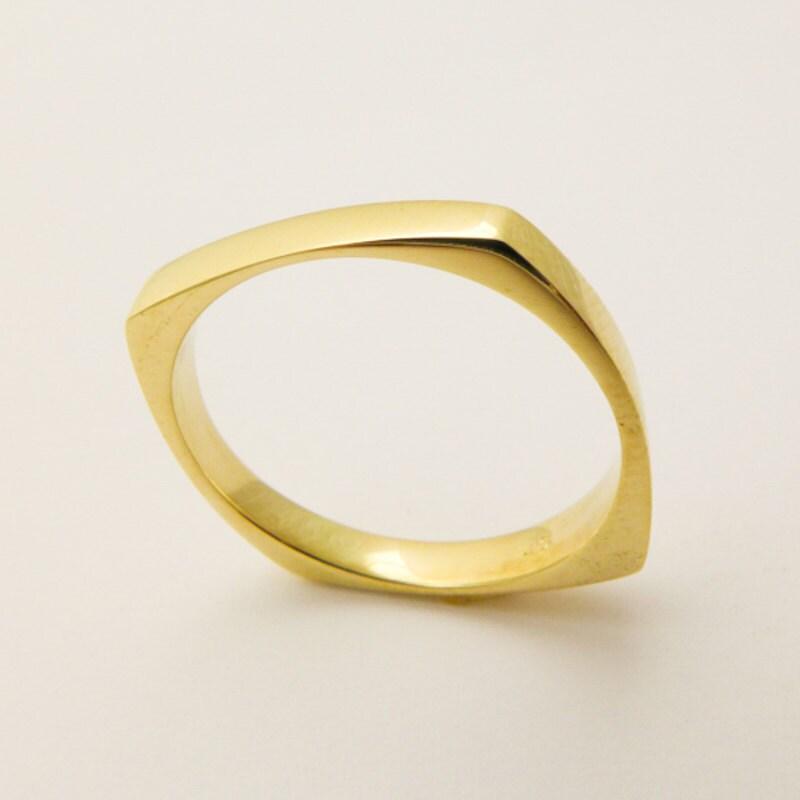 14 karat solid gold square ring geometric wedding ring for for Geometric wedding ring
